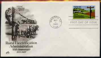 United States 1985 Rural Electrification 22c on illustrated cover with first day cancel, SG 2186