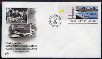United States 1985 50th Anniversary of Martin M-130 Flying Boat on illustrated cover with first day cancel, SG A2144, stamps on aviation, stamps on flying boats, stamps on bridges
