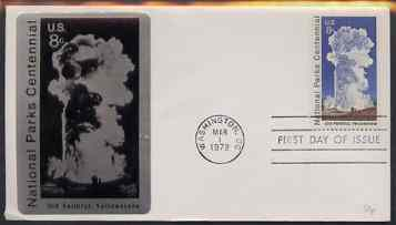 United States 1972 National Parks System 8c (Old Faithful) on Sarzin cover with first day cancel, SG 1456