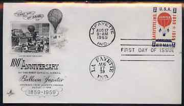 United States 1959 Centenary of Balloon Jupiter's Mail-carrying Flight on illustrated cover with first day cancel, SG A1132