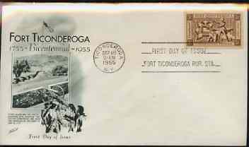 United States 1955 200th Anniversary of Fort Ticonderoga on illustrated cover with first day cancel, SG 1073, stamps on militaria, stamps on cannon, stamps on forts