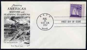 United States 1957 350th Anniversary of American Shipbuilding on illustrated cover with first day cancel, SG 1097