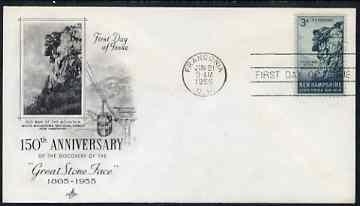 United States 1955 'The Old Man of the Mountain' 3c on illustrated cover with first day cancel, SG 1070