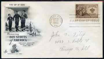 United States 1950 American Boy Scouts on illustrated cover with first day cancel, SG 992