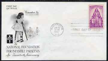United States 1957 Infantile Paralysis Relief Campaign on illustrated cover with first day cancel, SG 1089
