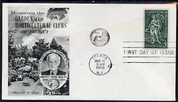 United States 1958 Gardening & Horticulture Commemoration on illustrated cover with first day cancel, SG 1102
