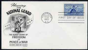 United States 1953 National Guard on illustrated cover with first day cancel, SG 1014