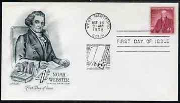 United States 1958 Birth Bicentenary of Noah Webster (creator of dictionary) on illustrated cover with first day cancel, SG 1120