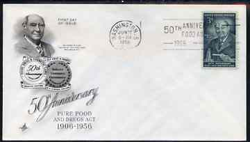 United States 1956 Pure Food & Drug Laws on illustrated cover with first day cancel, SG 1082