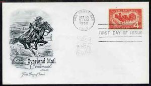 United States 1958 Overland Mail Centenary on illustrated cover with first day cancel, SG 1119
