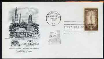 United States 1959 Centenary of First Oil-Well on illustrated cover with first day cancel, SG 1133