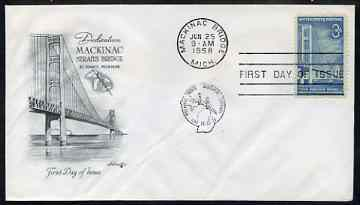 United States 1958 Mackinac Bridge Commemoration on illustrated cover with first day cancel, SG 1108