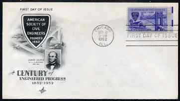United States 1952 Centenary of American Society of Civil Engineers on illustrated cover with first day cancel, SG 1009