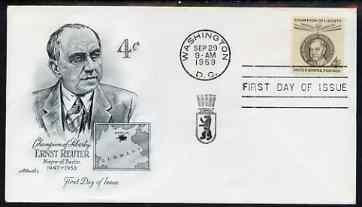United States 1959 Ernst Reuter Commemoration 4c on illustrated cover with first day cancel, SG 1135