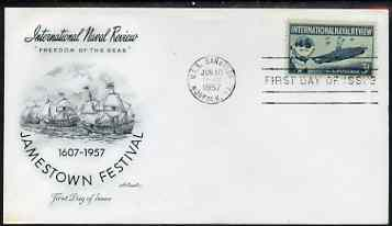 United States 1957 Jamestown Festival & Naval Review on illustrated cover with first day cancel, SG 1093