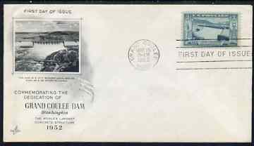 United States 1952 Grand Coulee Dam (Columbia Basin Reclamation) on illustrated cover with first day cancel, SG 1006