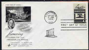 United States 1958 Freedom of the Press on illustrated cover with first day cancel, SG 1118