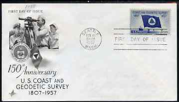 United States 1957 150th Anniversary of Coast & Geodetiv Survey on illustrated cover with first day cancel, SG 1090