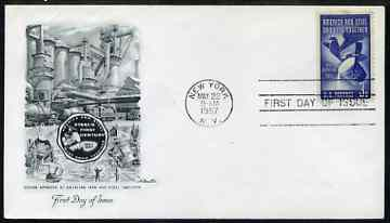 United States 1957 Centenary of America's Steel Industry on illustrated cover with first day cancel, SG 1092