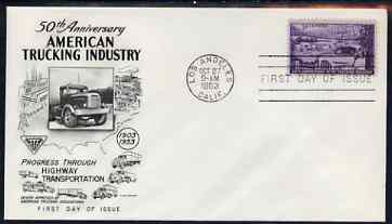 United States 1953 50th Anniversary of Trucking Industry on illustrated cover with first day cancel, SG 1022