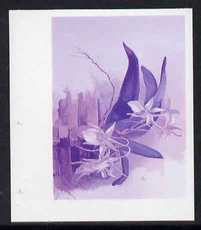 Guyana 1985-89 Orchids Series 2 plate 70 (Sanders' Reichenbachia) unmounted mint imperf progressive proof in blue & red only