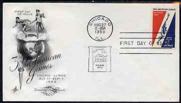 United States 1959 Third Pan-American Games on illustrated cover with first day cancel, SG A1134