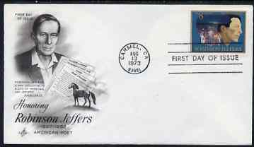 United States 1973 American Arts Commemoration - Robinson Jeffers (poet) on illustrated cover with first day cancel, SG 1485