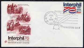 United States 1976 Interphil '76 Stamp Exhibition on illustrated cover with special Writer's Day day cancel, SG 1612, stamps on stamp exhibitions, stamps on writing