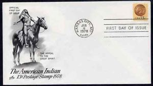 United States 1978 Indian Head Penny 13c stamp on illustrated cover with first day cancel, SG 1708