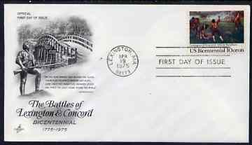 United States 1975 American Revolution - Battles of Lexington & Concord on illustrated cover with first day cancel, SG 1559