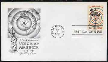 United States 1967 Voice of America (Radio) on illustrated cover with first day cancel, SG 1309