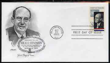 United States 1965 Adlai E Stevenson Commemoration (UN Ambassador) on illustrated cover with first day cancel, SG 1257