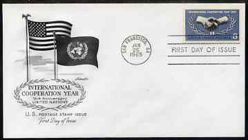 United States 1965 International Co-operation Year on illustrated cover with first day cancel, SG 1248