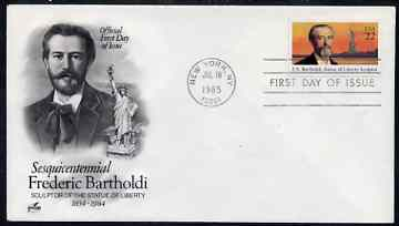 United States 1985 Fr\8Ed\8Eric Bartholdi (sculptor of Statue of Liberty) on illustrated cover with first day cancel, SG 2189