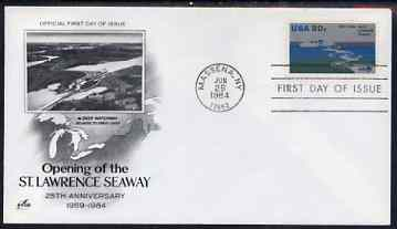 United States 1984 25th Anniversary of St Lawrence Seaway on illustrated cover with first day cancel, SG 2088, stamps on canals, stamps on civil engineering