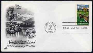 United States 1984 25th Anniversary of Alaska Statehood on illustrated cover with first day cancel, SG 2063