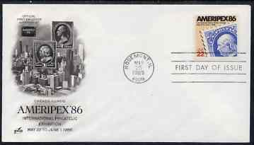 United States 1985 Ameripex '86 Stamp Exhibition on illustrated cover with special Writer's Day day cancel, SG 2187