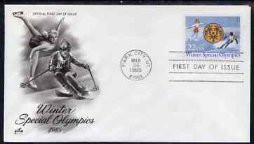 United States 1985 Winter Special Olympic Games on illustrated cover with special Writer's Day day cancel, SG 2175