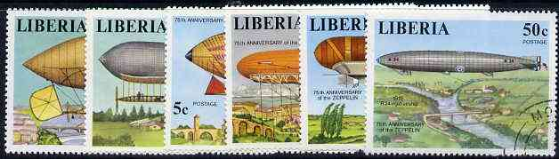 Liberia 1978 Zeppelin Anniversary perf set of 6 cto used SG 1334-39