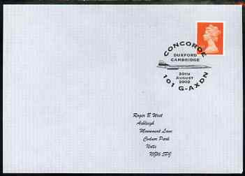 Postmark - Great Britain 2002 cover for Concorde 101 G-AXDN with Duxford cancel illustrated with Concorde