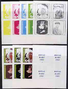 Staffa 1982 Royal Baby opt on 1981 Royal Wedding imperf sheetlet containing set of 4, the  set of 9 progressive proofs comprising the 5 individual colours plus two 2-colour, 3, 4  and all 5-colour composites (36 proofs) unmounted mint