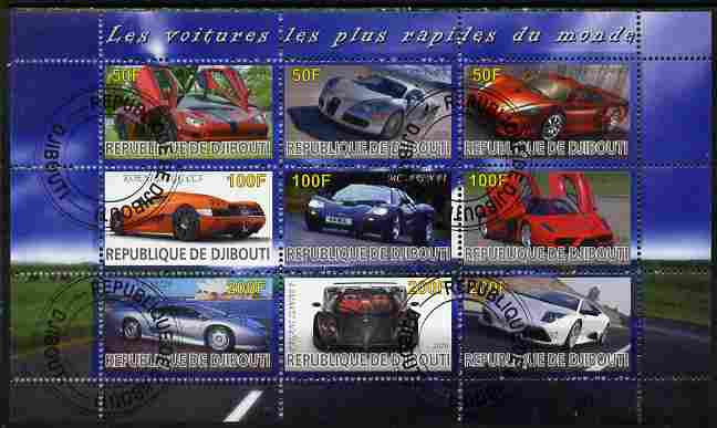 Djibouti 2010 Worlds Fastest Cars perf sheetlet containing 9 values fine cto used