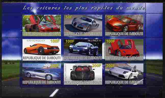 Djibouti 2010 Worlds Fastest Cars perf sheetlet containing 9 values unmounted mint