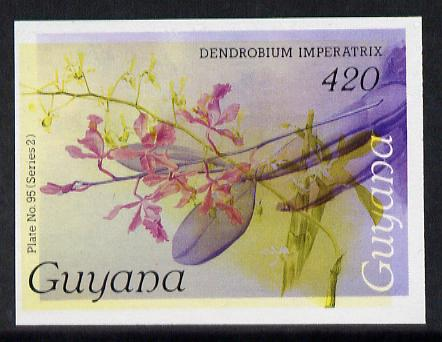 Guyana 1985-89 Orchids Series 2 plate 95 (Sanders' Reichenbachia) unmounted mint imperf single in black & yellow colours only with blue & red from another value (plate 59) printed inverted, most unusual and spectacular