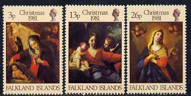Falkland Islands 1981 Christmas Paintings perf set of 3 unmounted mint, SG 409-11