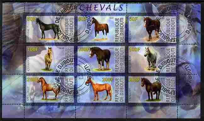 Djibouti 2010 Horses perf sheetlet containing 9 values fine cto used
