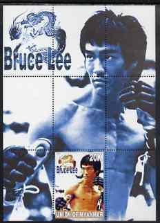 Myanmar 2000 Bruce Lee perf souvenir sheet #01 (blue background) unmounted mint