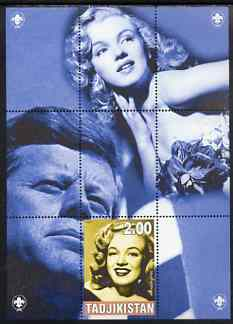 Tadjikistan 2000 Marilyn Monroes (with JFK) perf souvenir sheet unmounted mint with Scout logos in margin