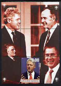 Tadjikistan 2000 Bill Clinton (with other US Presidents) perf souvenir sheet unmounted mint with Scout logos in margin