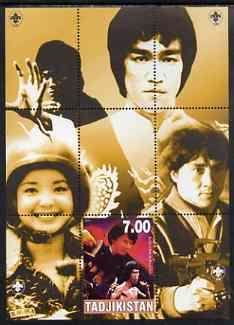 Tadjikistan 2000 Bruce Lee perf souvenir sheet unmounted mint with Scout logos in margin